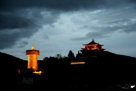 El templo Dorado y la rueda de rezo.