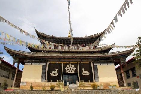 La arquitectura de estilo tibetano de Shangri-La.
