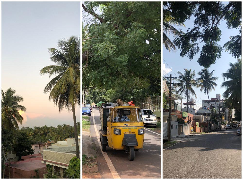 calles de Gokulam, el centro del yoga en Mysore